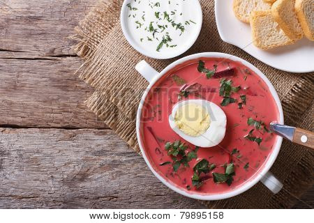 Beetroot Soup With Egg Close Up. Horizontal Top View