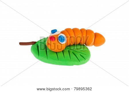 Worm From Plasticine On White Background