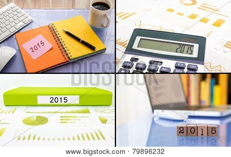 Year Resolutions 2015 Work Planning, Collage Set, Business Collection Theme