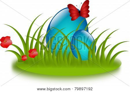 Blue Easter Eggs In Grass
