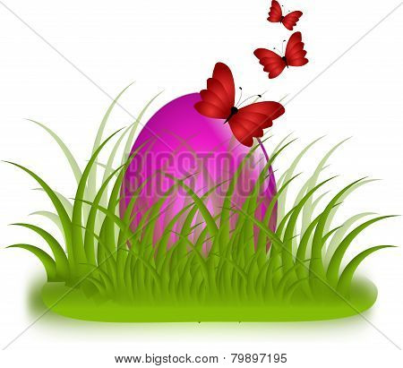 Pink Egg In Grass