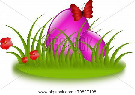 Easter Pink Eggs In Grass
