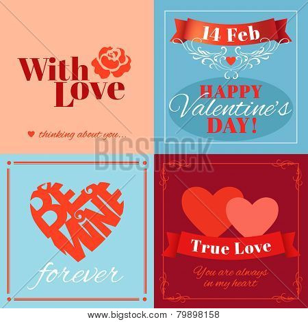 Valentine�s Day cards with heart shape and typography. Vector