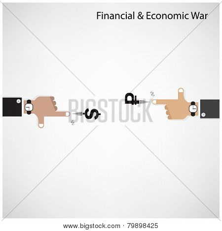 Businessman Hand Shooting Financial Or Economic War Concept