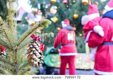 Santa Claus Is Coming To A Fur-tree On A Background Of Trees And Bumps