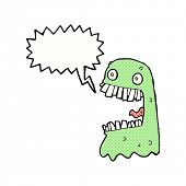 stock photo of grossed out  - cartoon gross ghost with speech bubble - JPG