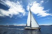 stock photo of sail ship  - Sailboat participate in sailing regatta - JPG
