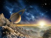 stock photo of science fiction  - Gorgeous spacescape as seen from one of Saturn moon - JPG