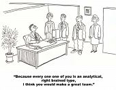 picture of right brain  - The boss says the business people are right brained and analytical so they would make a great team  - JPG