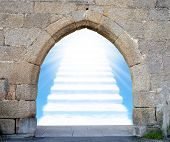 foto of gates heaven  - Gate with stairway to heaven - JPG