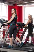 stock photo of cardio  - Sporty girls walking on cardio trainer treadmill in gym - JPG