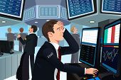 stock photo of stress  - A vector illustration of stock trader in stress looking at the computer - JPG