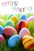 ������, ������: Many Colorful Easter Eggs On Green Grass With Text Happy Easter