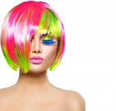 foto of hair cutting  - Beauty Fashion Model Girl with Colorful Dyed Hair - JPG