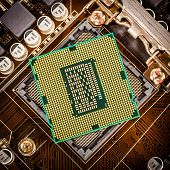 stock photo of processor socket  - Modern processor and motherboard for a home computer - JPG