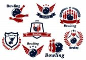 foto of bowling ball  - Bowling sports emblems and symbols with ball - JPG