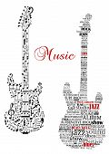 stock photo of classic art  - Classic guitars with words and musical notes and text Music for art design - JPG