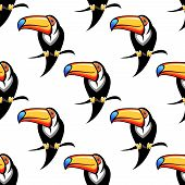 stock photo of toucan  - Colorful funny toucan bird seamless pattern for travel or wildlife design - JPG