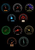 picture of speedometer  - Speedometers and speed dials set for racing or transportation design - JPG