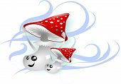 image of toadstools  - Two red toadstools in wind keeping hats - JPG