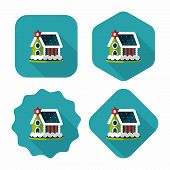 picture of gingerbread house  - Gingerbread House Flat Icon With Long Shadow - JPG