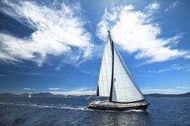 image of sails  - Sailboat participate in sailing regatta - JPG