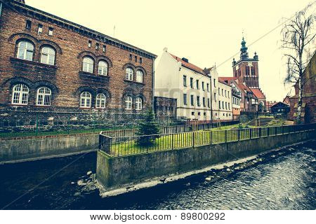 Historical Miller's House on the Mill Island in Gdansk and other old houses in cener of Gdansk, Poland