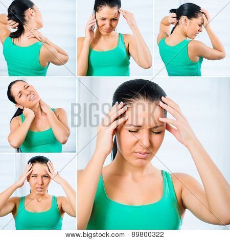 photo collage of a young woman suffering from a headache