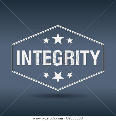 Integrity Hexagonal White Vintage Retro Style Label