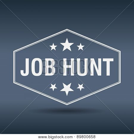 Job Hunt Hexagonal White Vintage Retro Style Label