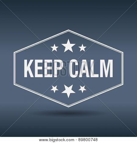 Keep Calm Hexagonal White Vintage Retro Style Label