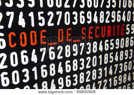 Computer Screen With Code De Securite Text And Numbers
