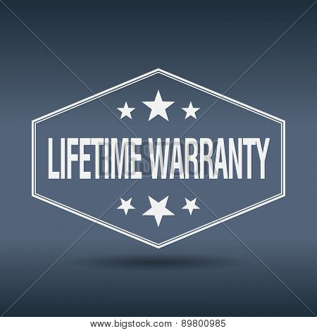Lifetime Warranty Hexagonal White Vintage Retro Style Label