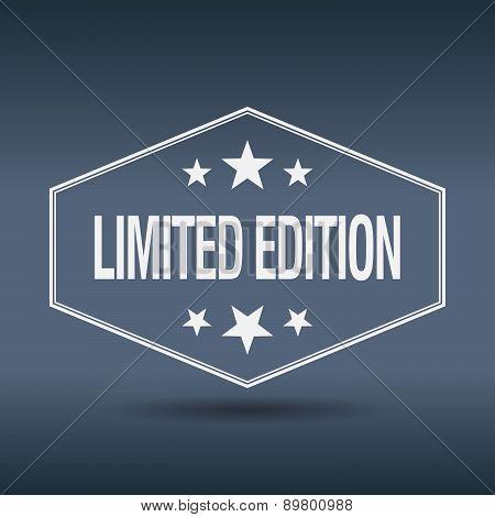 Limited Edition Hexagonal White Vintage Retro Style Label