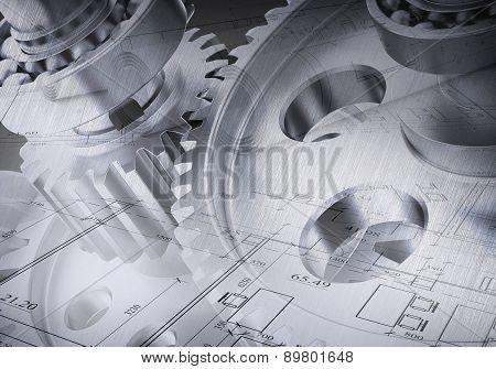 Watchwork wheels, close-up