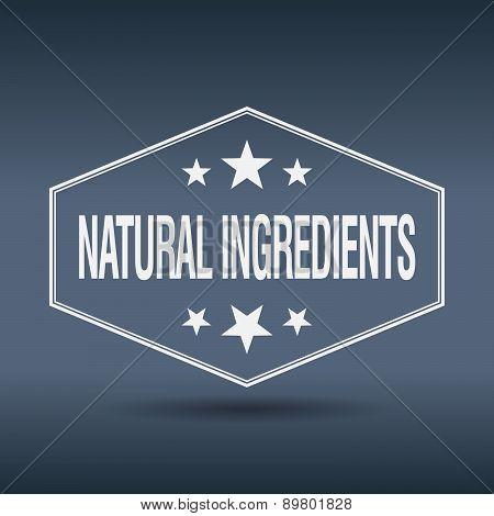 Natural Ingredients Hexagonal White Vintage Retro Style Label