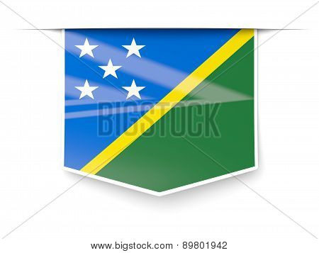 Square Label With Flag Of Solomon Islands