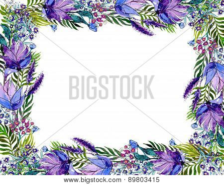 Floral frame with wildflowers