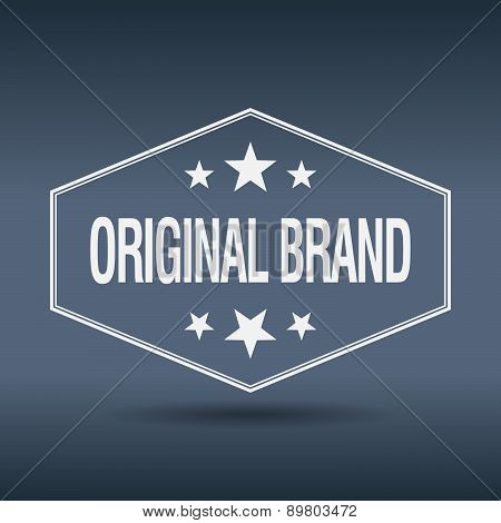 Original Brand Hexagonal White Vintage Retro Style Label