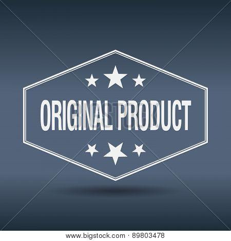 Original Product Hexagonal White Vintage Retro Style Label