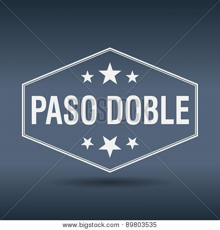 Paso Doble Hexagonal White Vintage Retro Style Label