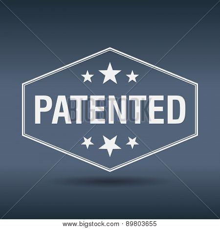 Patented Hexagonal White Vintage Retro Style Label