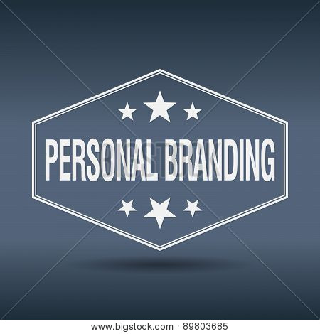 Personal Branding Hexagonal White Vintage Retro Style Label