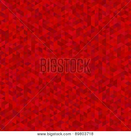 Geometric hexagon and triangle in red background