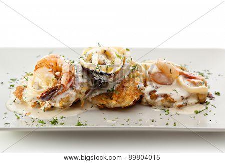 Potato Pancake with Seafood and Cream Sauce