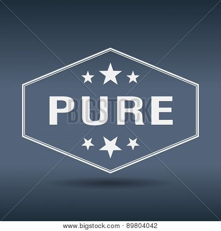 Pure Hexagonal White Vintage Retro Style Label