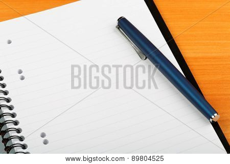 Open Notebook And Pen For Writing Close-up