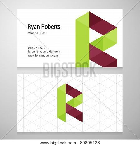 Modern Letter R Origami Business Card Template