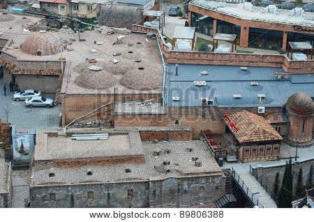 Tbilisi, Georgia-Feb,27 2015: Abanotubani - Sulfuric Baths district in old Tbilisi. Top view