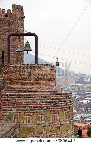 Narikala - Tbilisi defensive fortress. Brick walls